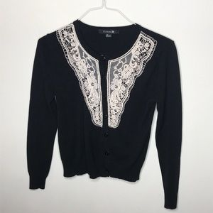 Forever 21 Cardigan lace front size large black